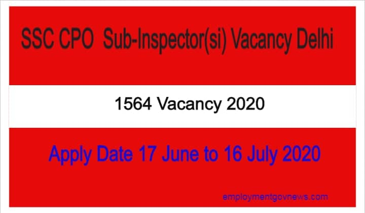 SSC CPO Sub-Inspector (si) vacancy