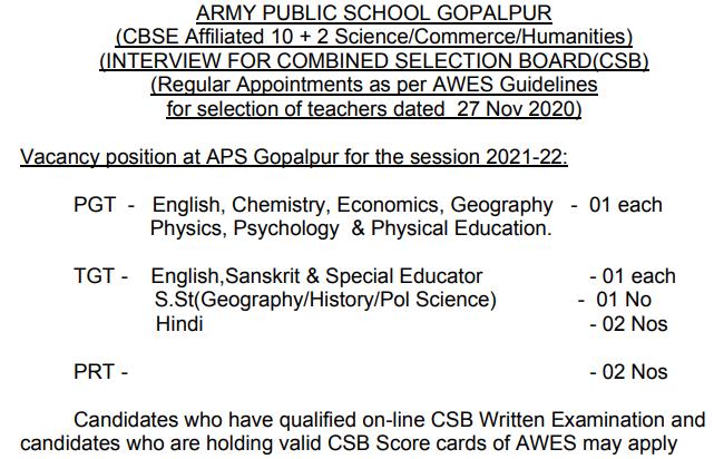Army Public School Gopalpur Recruitment 2021