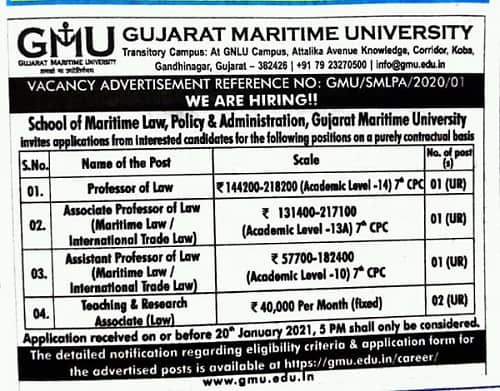 Gujarat Maritime University Recruitment 2021