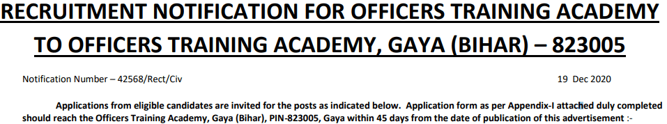 OTA Indian Army Recruitment 2020-21 85 Vacancy