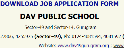 Dav Public School Vacancy 2021