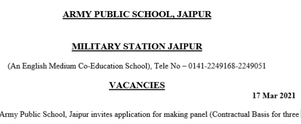Army Public School Jaipur Recruitment 2021 PGTTGT