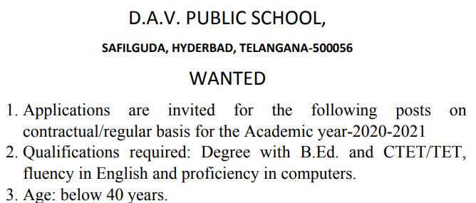 Dav Public School Safilguda Teacher Vacancy 2021