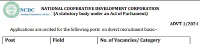 NCDC Vacancy 2021 Assistant Director (Law) Posts