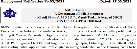 NMDC Vacancy 2021 Junior Manager (Law) Apply Now
