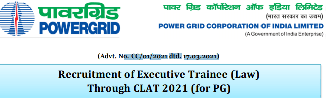 Power Grid Recruitment 2021 Law Executive Trainee