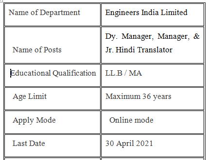 EIL Recruitment 2021 Law Officer Job