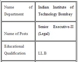 IIT Bombay Job Vacancy 2021 Senior Executive-II (Legal)