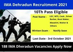 IMA Dehradun Recruitment 2021 LDC, MTS, Cook & Ors Vacancy