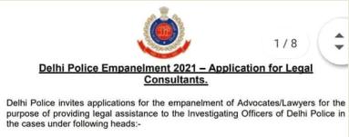 Delhi Police Legal Consultant Jobs 2021