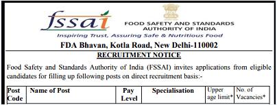 FSSAI Recruitment 2021 For Freshers FSSAI Job Vacancy 2021