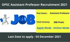OPSC Assistant Professor Recruitment 2021 Apply Online